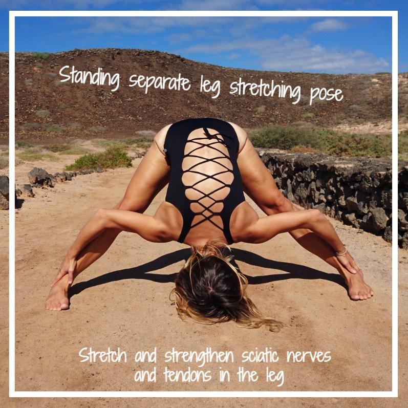Standing separate leg stretching