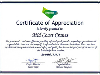 Mid Coast Cranes exceeds expectations in safety and quality at Lend Lease