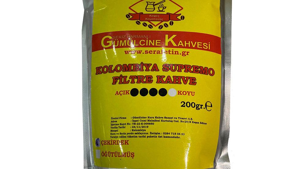 Kolombiya Supremo Filtre Kahve 200gr Çekirdek