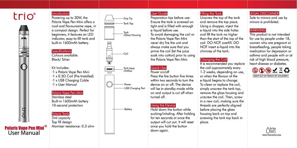 Trio Vapes Polaris Vape Pen Mini User Manual