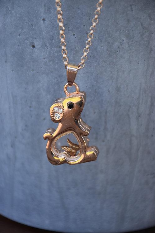 Rat memorial necklace, long chain