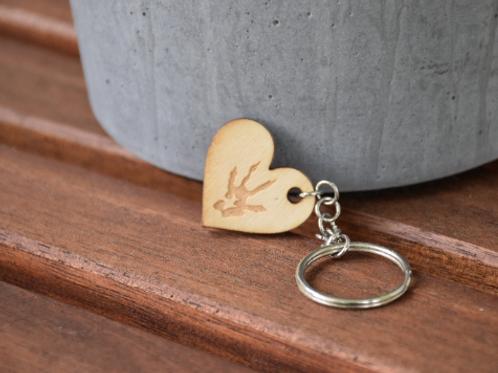 Wooden rat paw & heart keychain