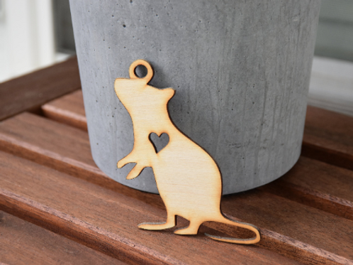Wooden Rat Ornament