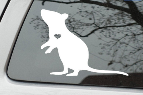 Rat with heart cutout - vinyl decal sticker