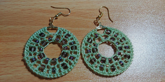 Green double row beaded crochet earrings