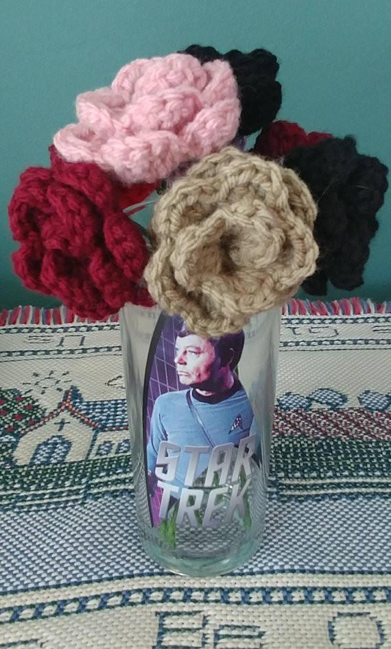 Small Crochet Roses