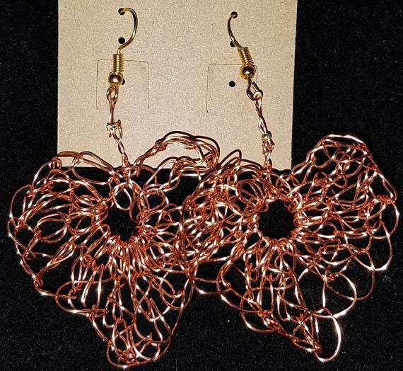 Copper Wire Crochet Heart shaped earrings