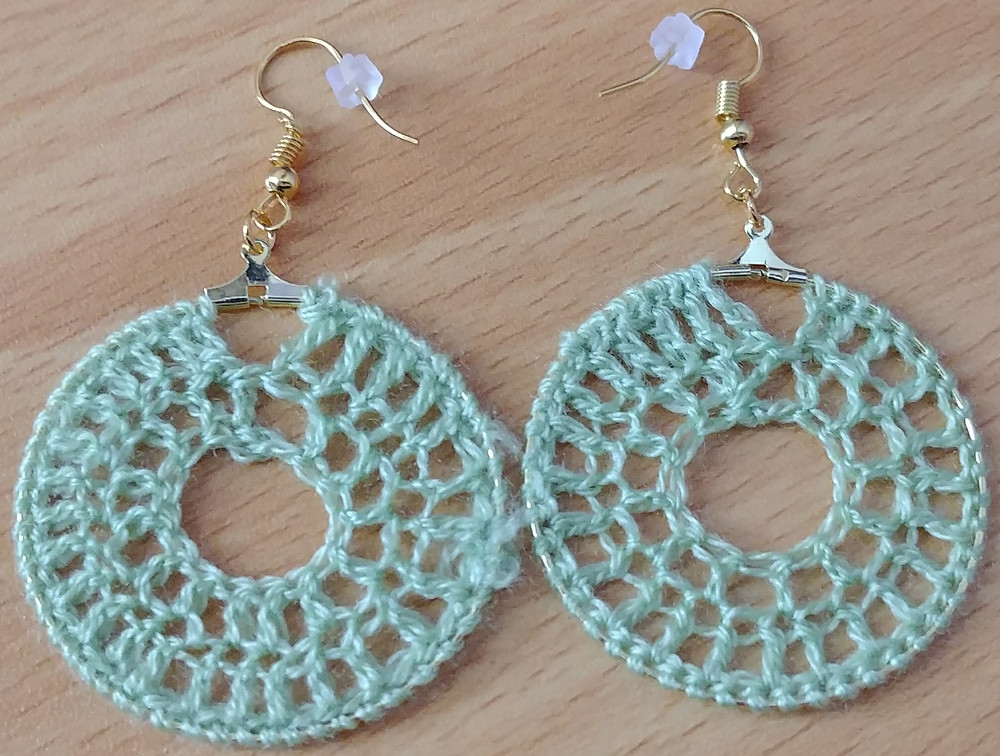 light green crochet dandle hoop earrings