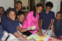 Chef Ameerah volunteering