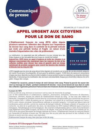 Don du sang : Urgent !