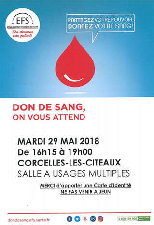 Mardi 29 mai : Don du sang
