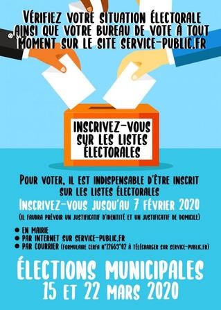 Elections Municipales 2020 : De nouvelles modalités d'inscription sur les listes électorales.