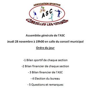 Jeudi 28 novembre : Assemblée générale de l'ASC