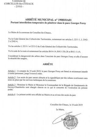 Fermeture du parc Georges Forey