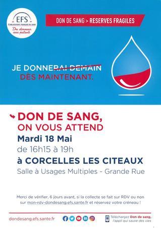 18 mai : Don du sang à Corcelles