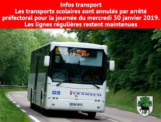 Interdiction des transports scolaires mercredi 30 janvier