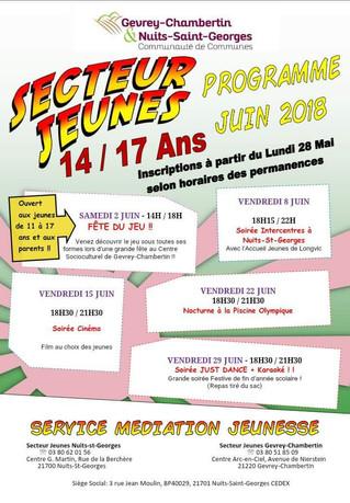 Secteur Jeunes : Le programme de juin 2018