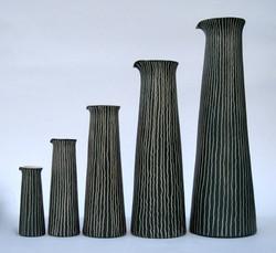 Tall Sgraffito Jugs, set of five