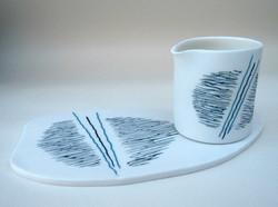 Inlaid Porcelain Pourer and Platter