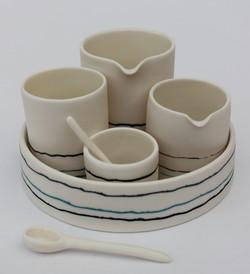 Inlaid Porcelain Condiment Set