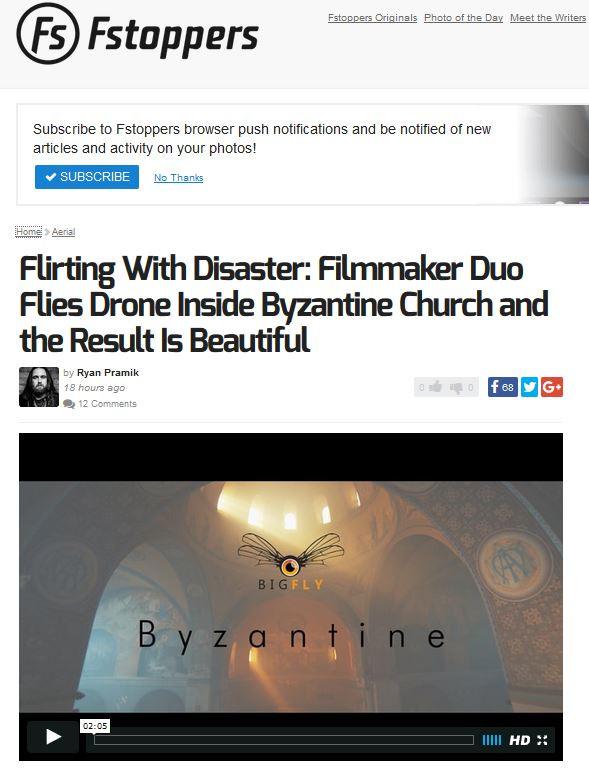 """Un article du site Fstoppers sur """"Byzantine"""""""