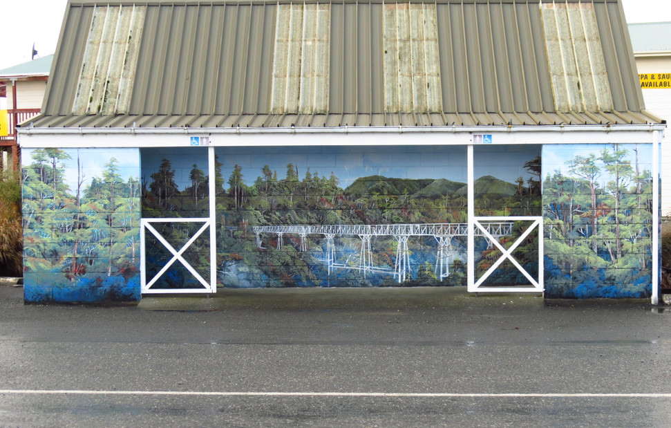 Gallery 65 is across the road from the public toilets. You just escape the Art in Tuatapere.