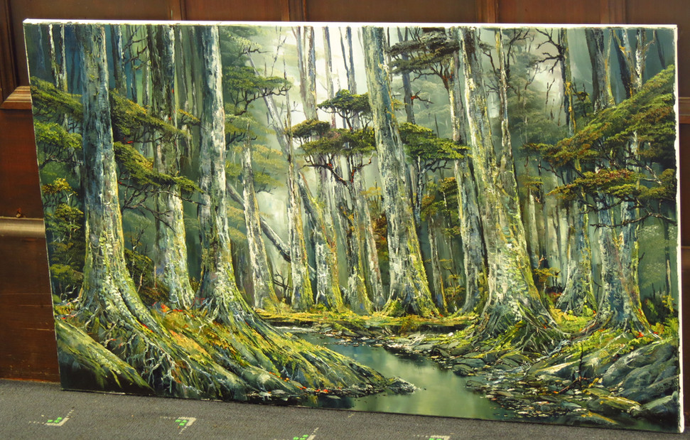Waynes intimate knowledge of Fiordlands Bush and Mountains combined with his skill as a painter enable him to capture the heart of Fiordland on canvas.