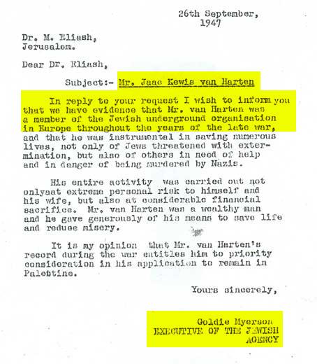 מכתב הגנה של גולדה מאיר שר״י שבו טוענת על זאק ואן הארטן הוא לא מרגל נאצי (26.9.1947)