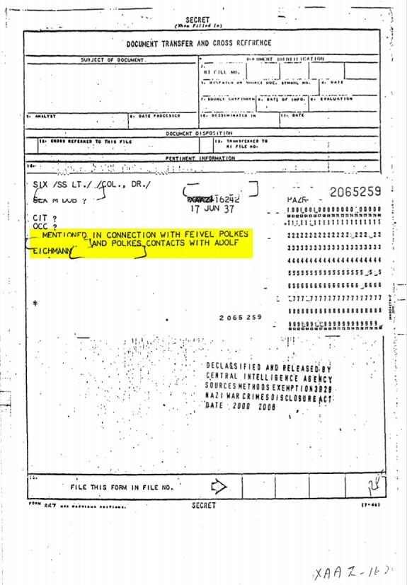 מסמך של סוכנות הביון האמריקאית ה-CIA שמציין את העובדה שפולקס היה מרגל מטעם אייכמן