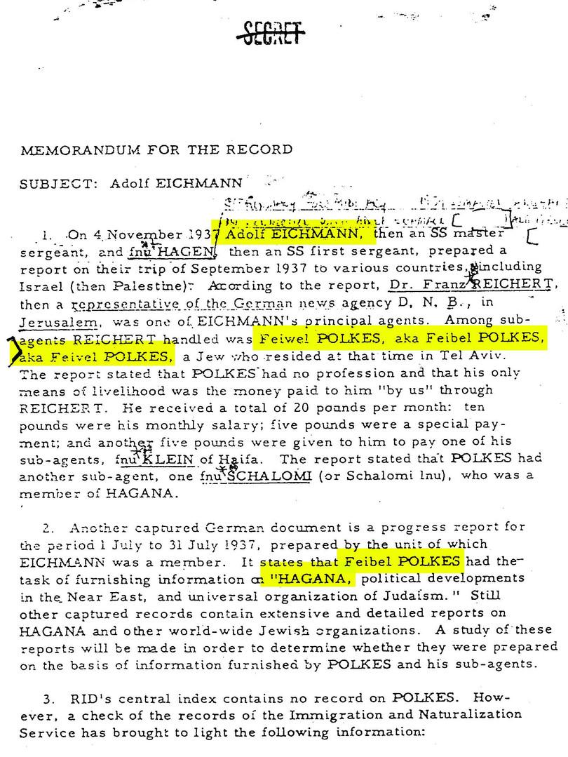 מסמך של סוכנות הביון האמריקאית ה-CIA