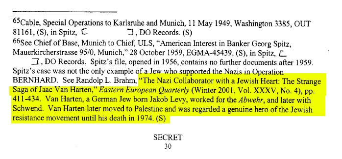 מסמך של סוכנות הביון האמריקאית CIA על יעקב ואן הארטן