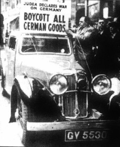 שלט על מכונית 'להחרים את כל הסחורה הגרמנית'