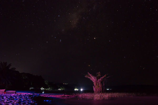 Starry night sky at Lake Victoria, Uganda