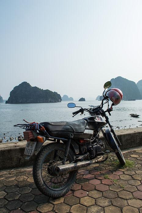 Motorcycle at Ha Long Bay in Vietnam
