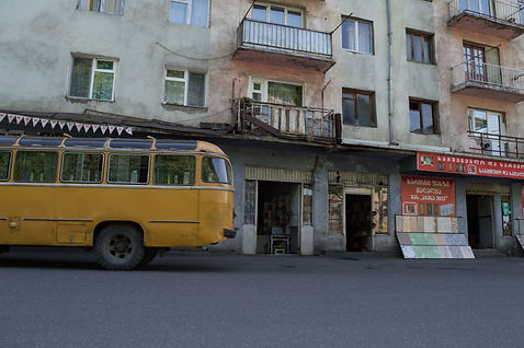 Storefronts and apartments in the mining town of Chiatura, Georgia