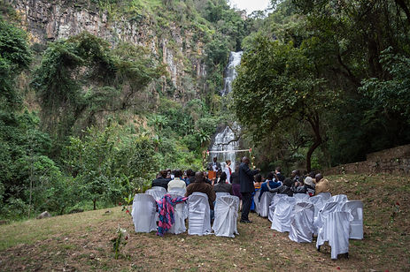 Wedding in front of a waterfall