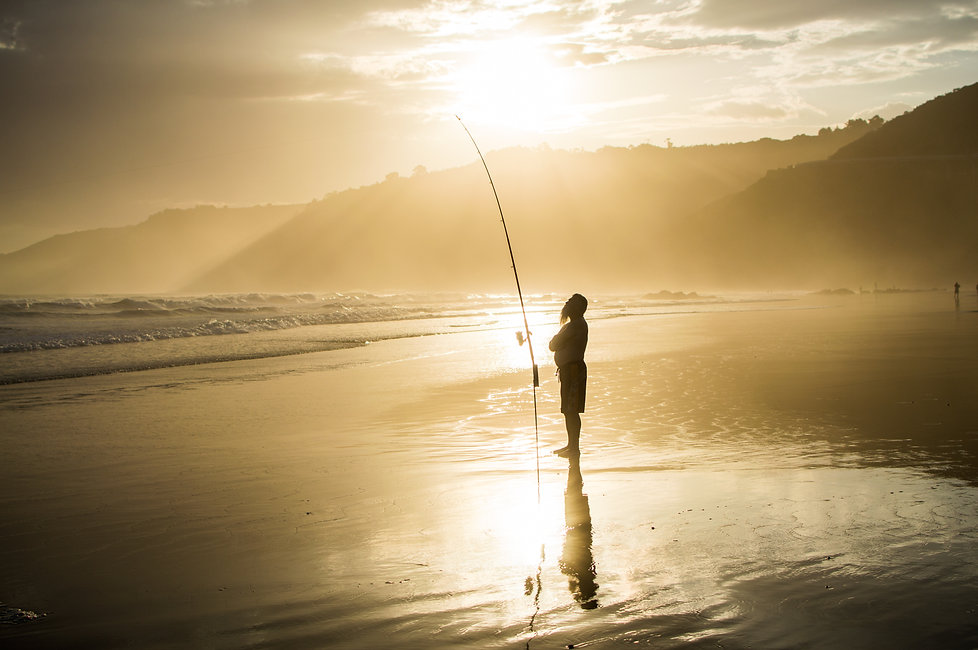 Fishing in Wilderness, South Africa at sunset, Garden Route