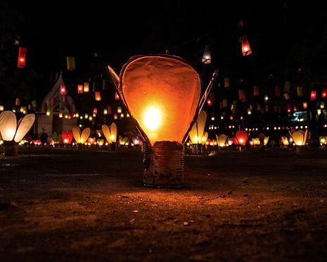 Lanterns for the Boun Lai Heua Fai lantern festival in Luang Prabang, Laos