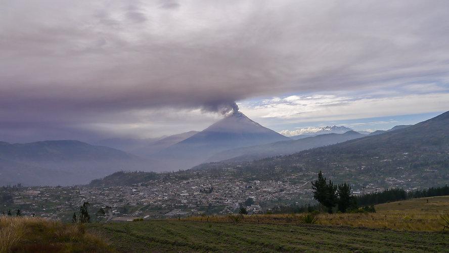 Erupting Tungurahua volcano in Ecuador