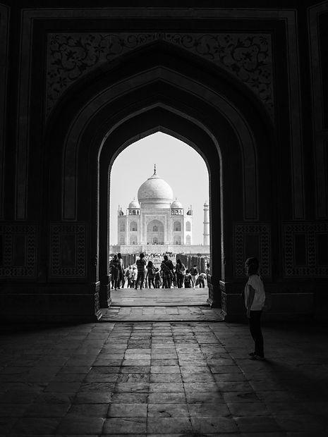 Taj Mahal seen through a gateway, Agra, India