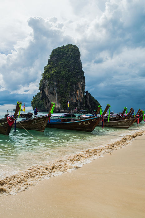 Boats at Phra Nang Beach in Thailand's Krabi Region