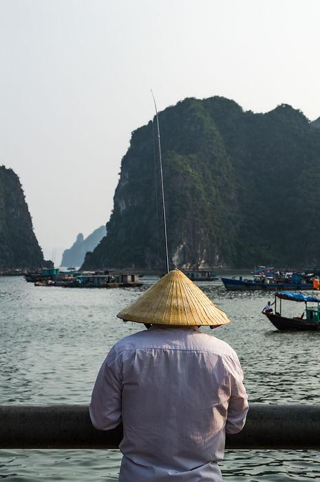 Fisherman at Ha Long Bay in Vietnam
