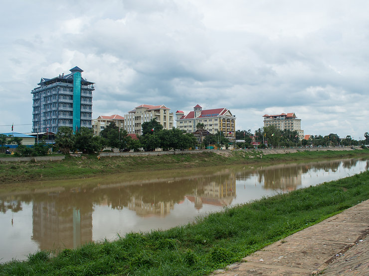 Hotels by the river in Battambang, Cambodia