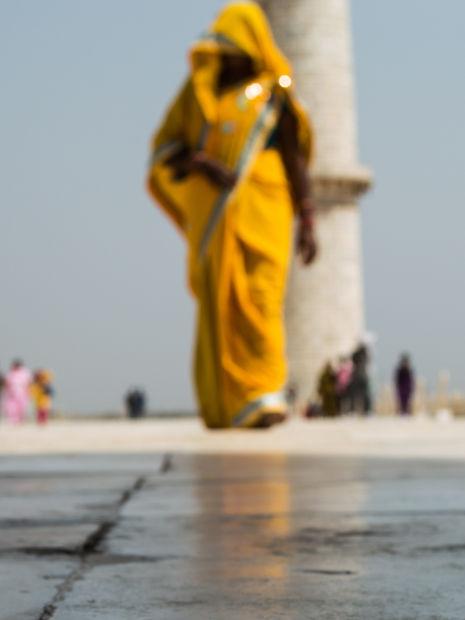 Woman with Sari at the Taj Mahal in Agra, India