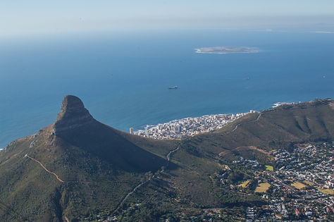 Lion's Head as seen from Table Mountain, Cape Town, South Africa