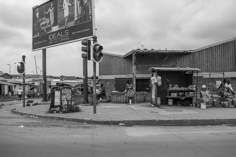 Street with stores in Mthata, South Africa