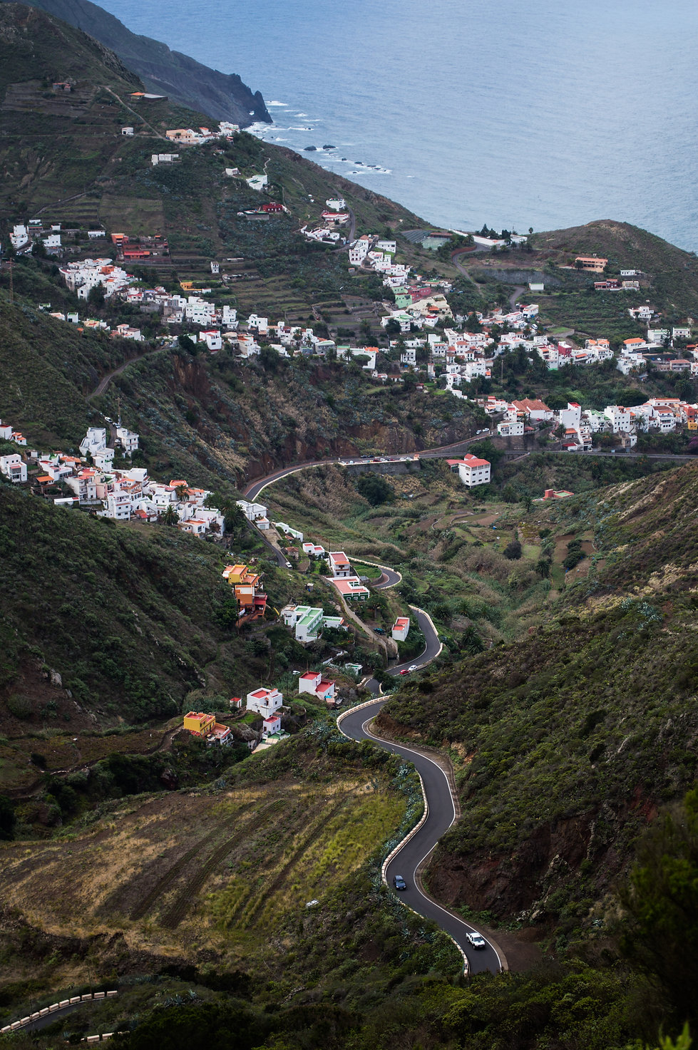 Village nestled in the cliffs of Tenerife, Spain