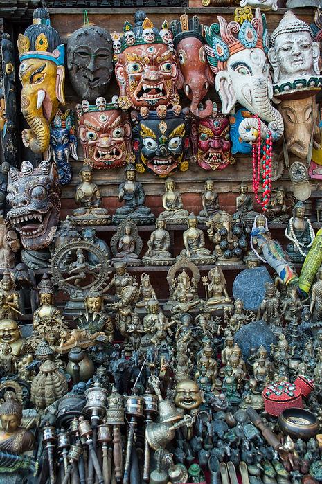 masks and religious figures in Kathmandu, Nepal
