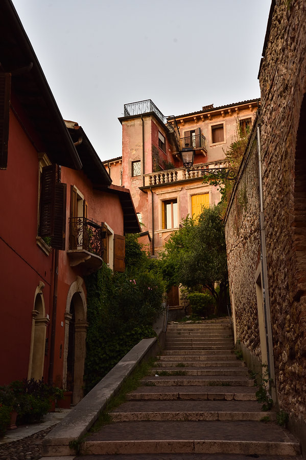 stairs and old houses in Verona, Italy