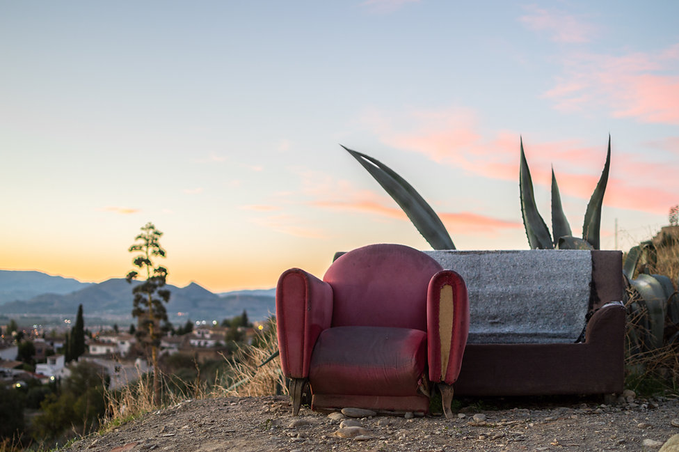 Sofa and chair in the outdoors at Sacromonte Hill in Granada, Spain